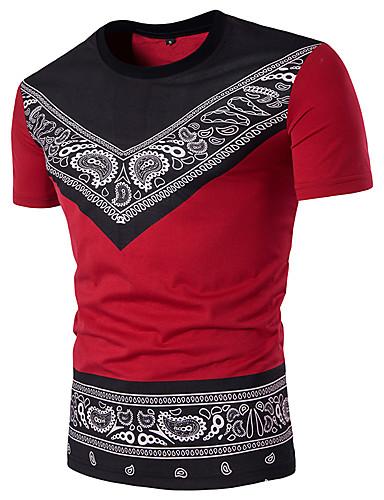 billige T-shirts og undertrøjer til herrer-Rund hals Tynd Herre - Paisley / Tribal Bomuld Gade Sport T-shirt Sort & Rød Hvid L / Kortærmet