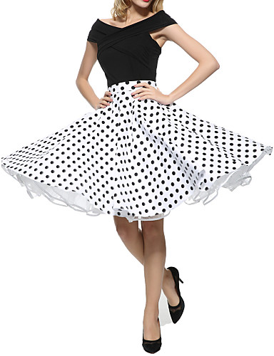 cheap Designers Collections-Women's Street chic A Line Skirts - Polka Dot Pleated
