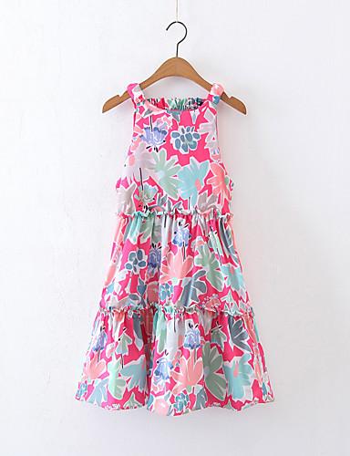 여성 루즈핏 시프트 드레스 데이트 캐쥬얼/데일리 단순한 스트리트 쉬크 프린트,라운드 넥 무릎길이 무릎 위 민소매 실크 면 여름 가을 중간 밑위 약간의 신축성 중간