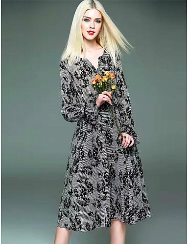 Damen Hülle Kleid-Ausgehen Lässig/Alltäglich Druck V-Ausschnitt Midi Langarm Polyester Frühling Sommer Mittlere Hüfthöhe Unelastisch