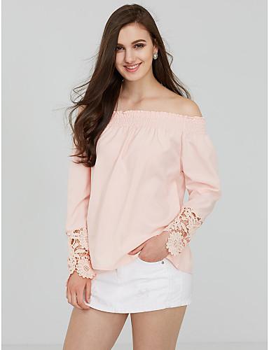 Mulheres Camiseta - Para Noite Feriado Moda de Rua Sólido Ombro a Ombro