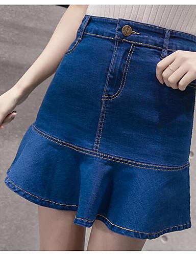 Damen Vintage Einfach Ausgehen Lässig/Alltäglich Mini Röcke Bodycon,Reine Farbe einfarbig Sommer