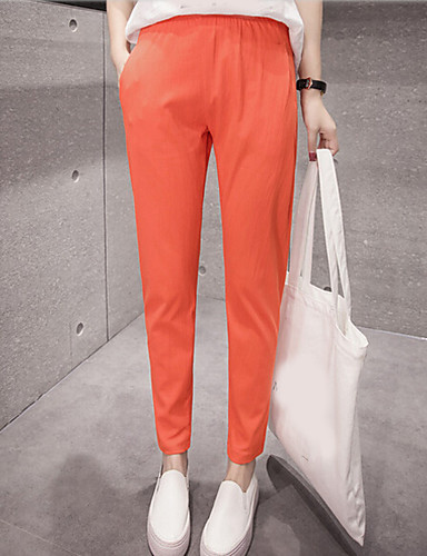 Damen Einfach Mittlere Hüfthöhe Mikro-elastisch Chinos Haremshosen Hose Solide