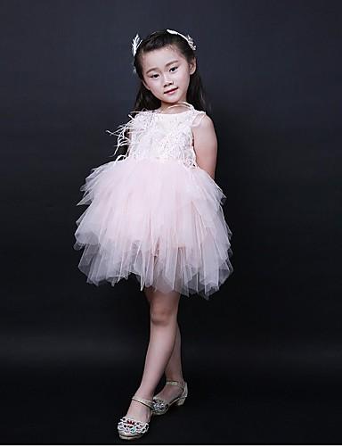 Plesové šaty krátké / mini květinové dívčí šaty - organza bez rukávů šperk krk s volánky