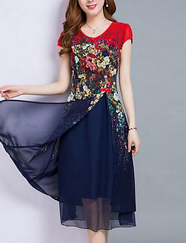 5fd89fd44 فستان نسائي قياس كبير شيفون متعدد الطبقات طباعة ميدي طول الركبة ورد مناسب  للخارج