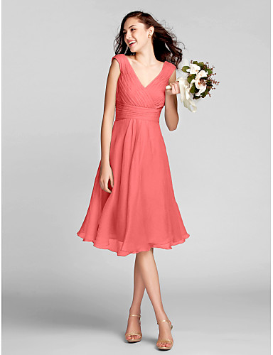bbebfd307fc3 A-Line V Neck Knee Length Chiffon Bridesmaid Dress with Draping / Ruched /  Criss Cross by LAN TING BRIDE®