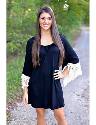 여성용 데이트 스트리트 쉬크 루즈핏 드레스 - 솔리드 높은 밑위 무릎 위 / 여름 / 가을