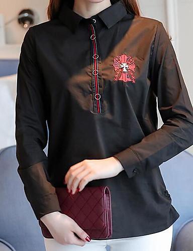 여성 솔리드 셔츠 카라 긴 소매 셔츠,심플 캐쥬얼/데일리 아크릴