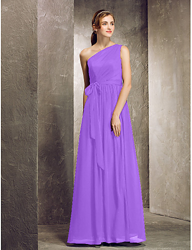 58d582c1fca6 Ίσια Γραμμή Ένας Ώμος Μακρύ Σιφόν Φόρεμα Παρανύμφων με Πλαϊνό ντραπέ με LAN  TING BRIDE®