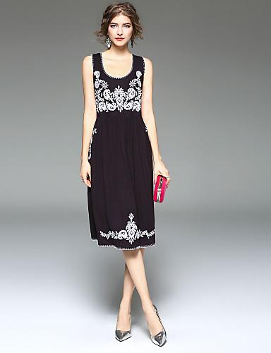 abordables Robes Femme-Femme Sortie Midi Moulante Robe - Imprimé, Couleur Pleine Printemps Eté Noir L XL XXL Sans Manches