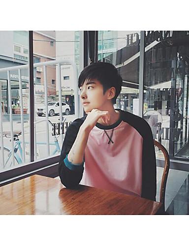 남성 컬러 블럭 라운드 넥 티셔츠,심플 캐쥬얼/데일리 면