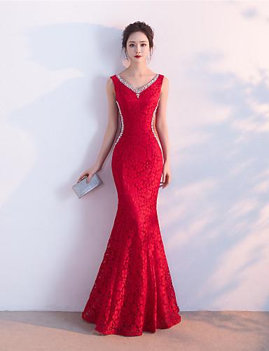 Meerjungfrau / Trompete V-Ausschnitt Boden Länge Spitze formale Abendkleid mit Perlen