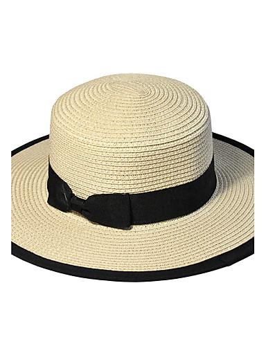 Unisex Primavera Verano Otoño Todas las Temporadas Vintage Bonito Fiesta  Trabajo Casual Hilo Sombrero de Paja 9a318eba6d8