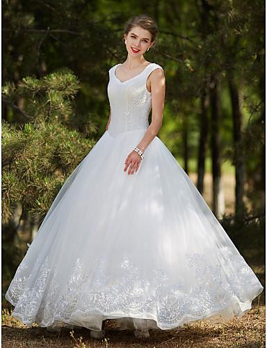 De Baile Decote V Longo Tule Vestidos de casamento feitos à medida com Cristais / Miçangas / Lantejoulas de LAN TING BRIDE®