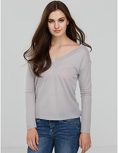 Lin V-hals T-skjorte - Ensfarget Dame