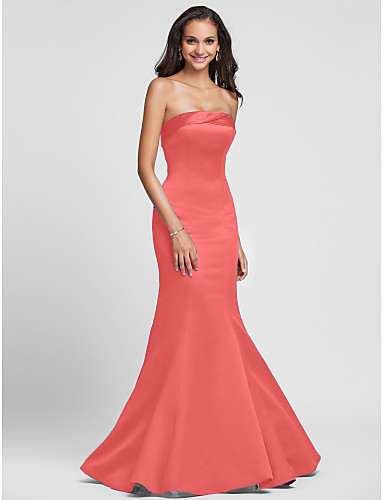 5f6b9db34f6 Mermaid   Trumpet Strapless Floor Length Satin Bridesmaid Dress with Side  Draping by LAN TING BRIDE®