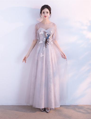 A-line šperk krk podlaha délka tyle formální večerní šaty s aplikací