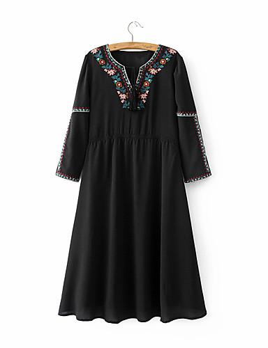 여성 루즈핏 시프트 드레스 데이트 캐쥬얼/데일리 단순한 스트리트 쉬크 프린트 자수장식,V 넥 무릎길이 긴 소매 실크 면 여름 가을 중간 밑위 약간의 신축성 중간