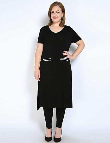 abordables Hauts pour Femme-Tee-shirt Grandes Tailles Femme, Couleur Pleine Fendu Actif