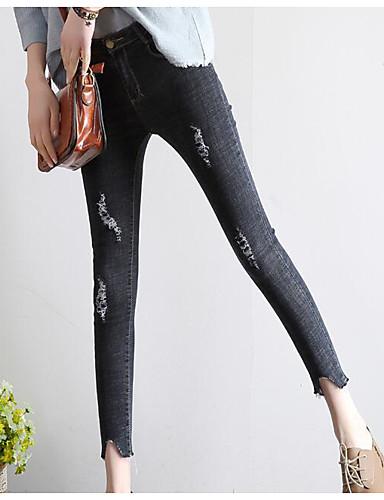 Damen Einfach Hohe Hüfthöhe Unelastisch Jeans Skinny Hose Solide