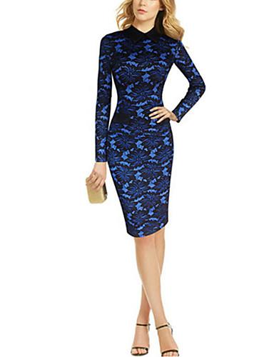 فستان نسائي قياس كبير ضيق / ثوب ضيق دانتيل طول الركبة ألوان متناوبة / خملة الجاكوارد قبعة القميص مناسب للحفلات / عمل