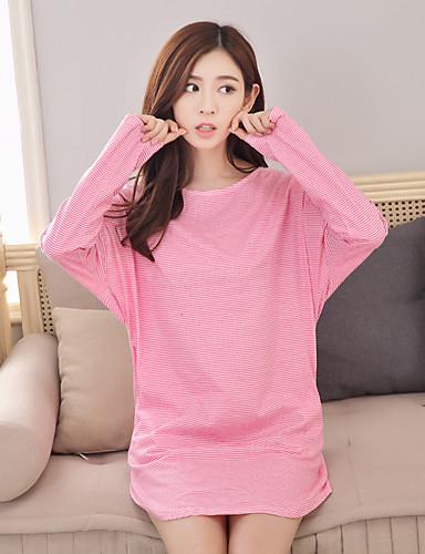 여성 파자마 줄무늬 여성의 면 블러슁 핑크 퓨샤 라이트 블루