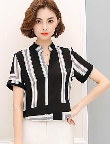 여성 줄무늬 컬러 블럭 V 넥 짧은 소매 블라우스,심플 정교한 디테일 캐쥬얼/데일리 작동 그외 여름 얇음