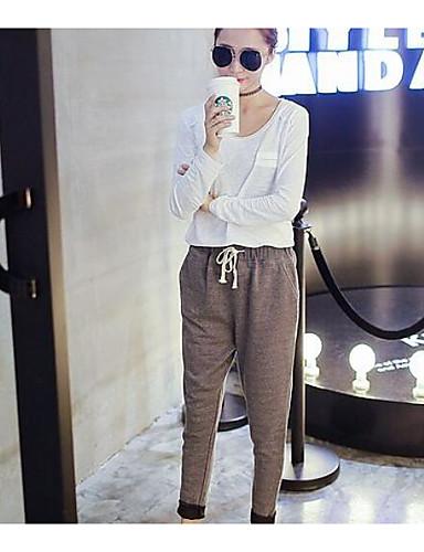 Dámské Jednoduchý Mikro elastické Kalhoty chinos Kalhoty Volné Mid Rise Jednobarevné