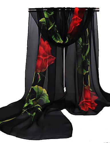 abordables Foulards Femme-Femme Vacances Foulard Rectangulaire - Imprimé, Fleur / Noir / Printemps / Eté