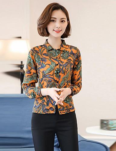 여성 플로럴 스탠드 긴 소매 셔츠,섹시 빈티지 심플 데이트 캐쥬얼/데일리 작동 레이온 사계절 여름 얇음