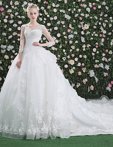 e7770492556 Ball Gown V Neck Cathedral Train Lace Over Tulle Made-To-Measure Wedding  Dresses with Beading   Sequin   Appliques by LAN TING Express   Illusion  Sleeve ...