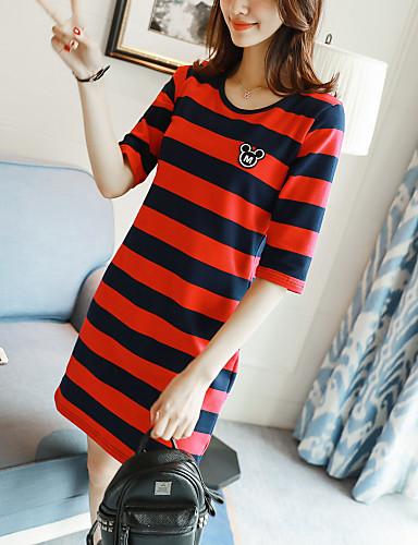 여성 줄무늬 라운드 넥 긴 소매 티셔츠,심플 캐쥬얼/데일리 면