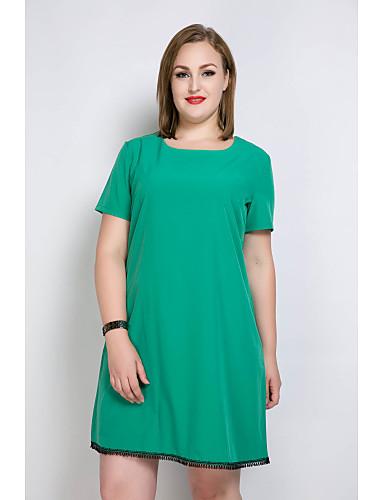 Mulheres Tamanhos Grandes Feriado Solto / Camiseta / Túnicas Vestido - Franjas, Sólido / Estampa Colorida Altura dos Joelhos