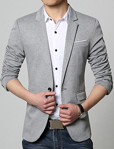 Herr Dagligen / Arbete Vår / Höst Plusstorlekar Normal Blazer, Enfärgad V-hals Långärmad Bomull / Akryl Blå / Svart / Grå XXXL / XXXXL / XXXXXL