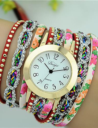 Mulheres Quartzo Bracele Relógio Venda imperdível PU Banda Flor Fashion Preta Branco Azul Vermelho Verde Rose