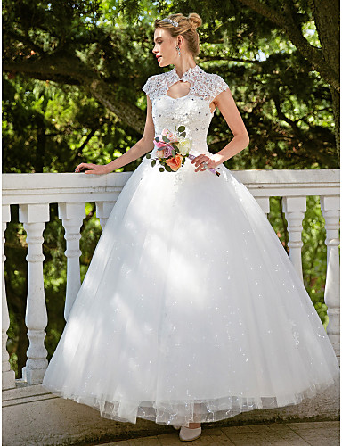 Ball Gown High Neck Floor Length Lace Tulle Wedding Dress with Beading Appliques by Embroidered Bridal