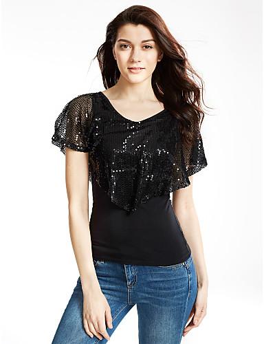 Bomull Polyester Medium Kortermet,V-hals T-skjorte Lapper Sommer Gatemote Fritid/hverdag Dame