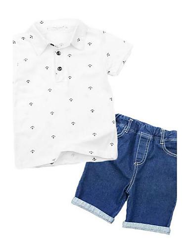 Jungen Kleidungs Set Kunstseide Sommer Kurzarm Zeichentrick Weiß Marineblau