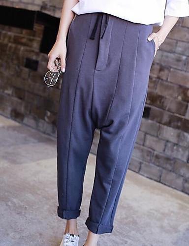Dámské Jednoduchý Není elastické Kalhoty chinos Kalhoty Volné High Rise Jednobarevné