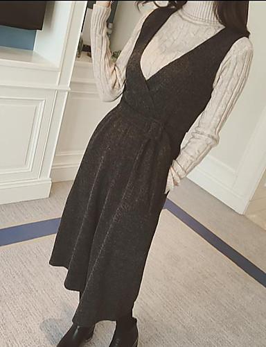 여성 단순한 비 신축성 치노바지 바지,와이드 레그 높은 밑위,퓨어 컬러 솔리드