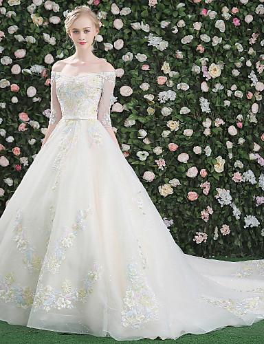 Princess Bateau Neck Cathedral Train Crepe Sequined Wedding Dress ...