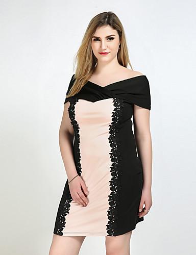 여성용 플러스 사이즈 시프트 칼집 레이스 드레스 - 컬러 블럭, 레이스 스트랩