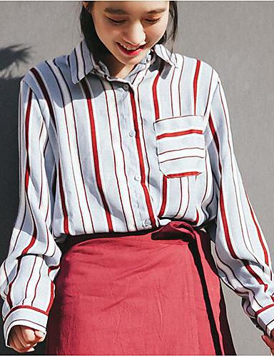 여성 줄무늬 셔츠 카라 긴 소매 셔츠,빈티지 캐쥬얼/데일리 폴리에스테르