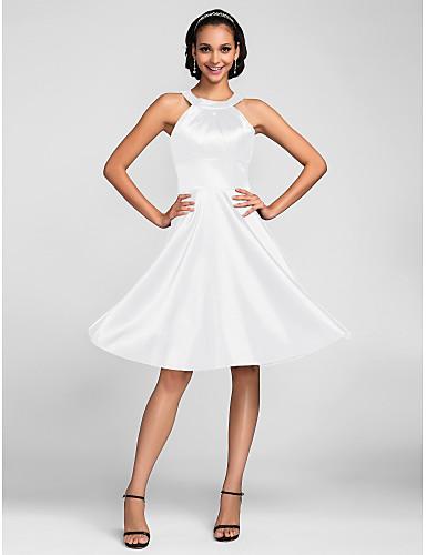 billige Brudepikekjoler-A-linje Besmykket Knelang Elastisk sateng Brudepikekjole med Sidedrapering av LAN TING BRIDE®