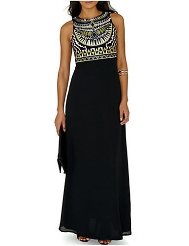 voordelige Maxi-jurken-Dames Feestdagen Strand Boho Ruimvallend Chiffon Jurk - Print Maxi Zwart