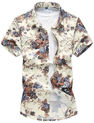 1f478442ee9977 Koszula-Męskie Prosty Aktywny Lato Codzienne Plaża-Kołnierzyk koszuli  Kwiaty-Krótki rękaw Cienki