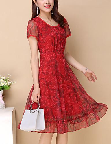 فستان نسائي قياس كبير عصري Ruched / طباعة طول الركبة أحمر ورد
