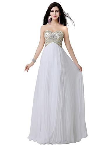 מעטפת \ עמוד לב (סוויטהארט) עד הריצפה שיפון ערב רישמי שמלה עם חרוזים פרטים מקריסטל על ידי Sarahbridal