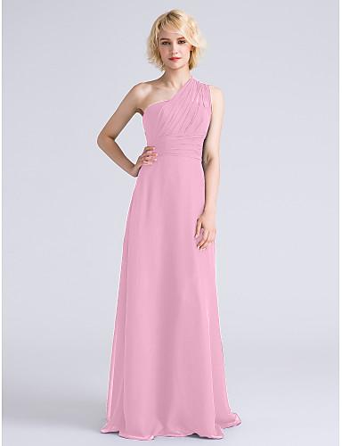 27dae48e79ce Ίσια Γραμμή Ένας Ώμος Μακρύ Σιφόν Φόρεμα Παρανύμφων με Πλαϊνό ντραπέ    Πιασίματα με LAN TING BRIDE®