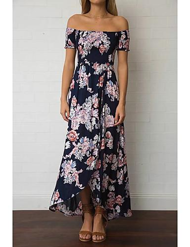 여성 루즈핏 시프트 드레스 데이트 캐쥬얼/데일리 단순한 스트리트 쉬크 플로럴,보트넥 미디 짧은 소매 실크 면 여름 가을 중간 밑위 약간의 신축성 중간